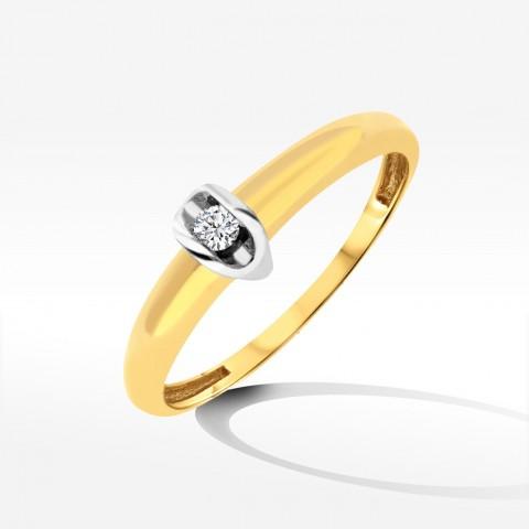 Złoty subtelny dwukolorowy pierścionek z cyrkonią
