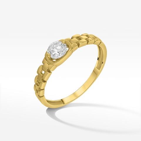 Złoty unikalny pierścionek z cyrkonią