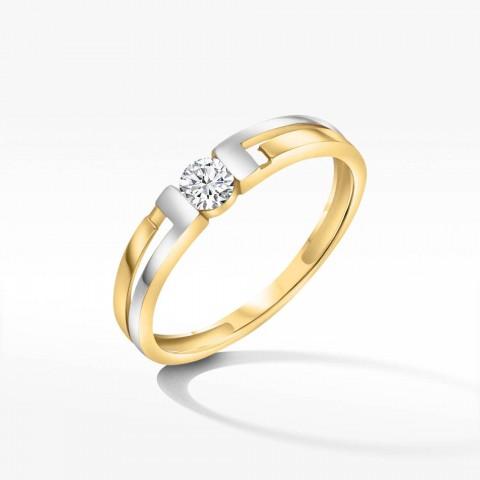 Dwukolorowy pierścionek ze złota z cyrkonią