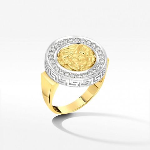 Pierścionek ze złota z Medusą i cyrkoniami
