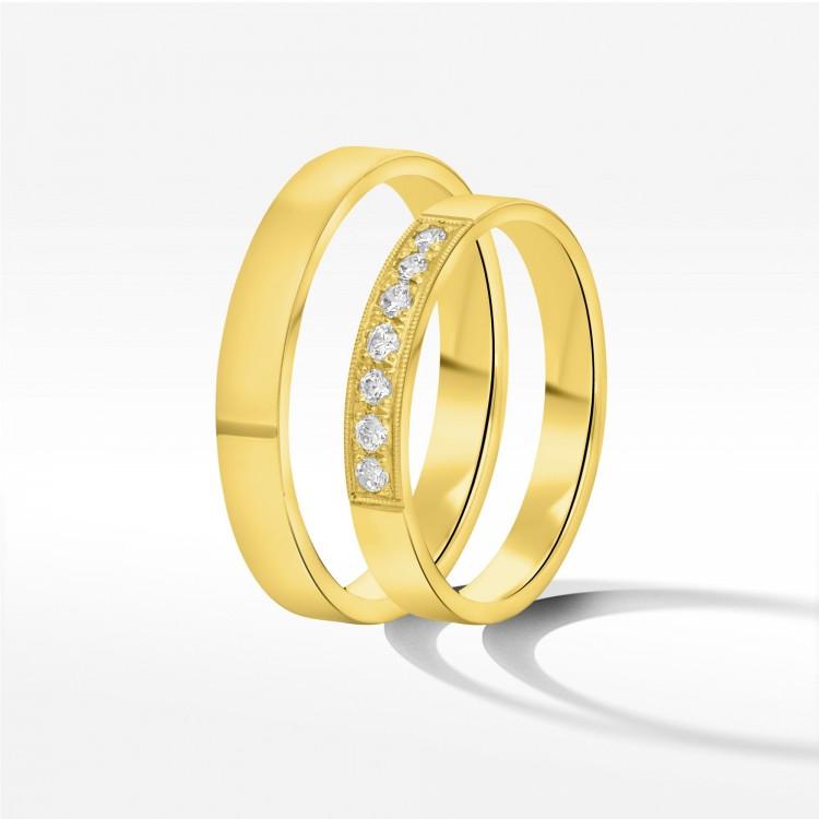 Obrączki ślubne z żółtego złota 3mm płaskie