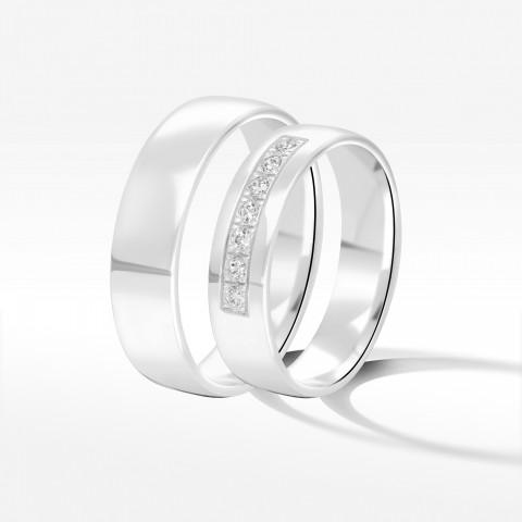 Obrączki ślubne z białego złota 5mm półokrągłe
