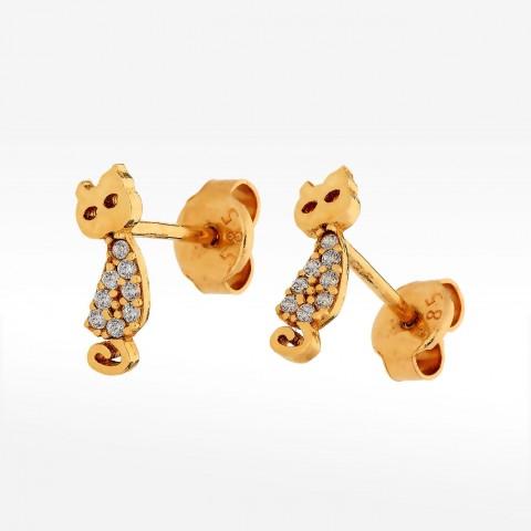 Złote kolczyki kotki z cyrkoniami sztyfty