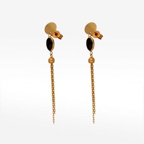 Złote kolczyki z hematytem