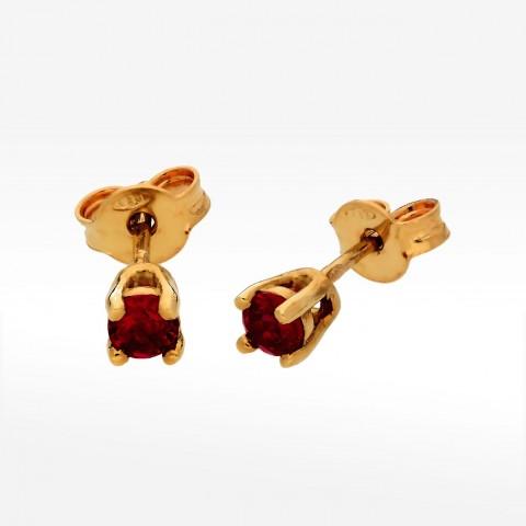Kolczyki ze złota z rubinową cyrkonią