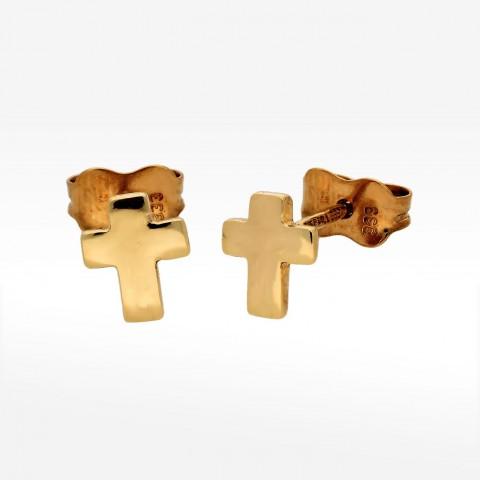 Złote kolczyki z krzyżykiem