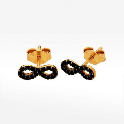 złote kolczyki z nieskończonością i czarnymi kamieniami