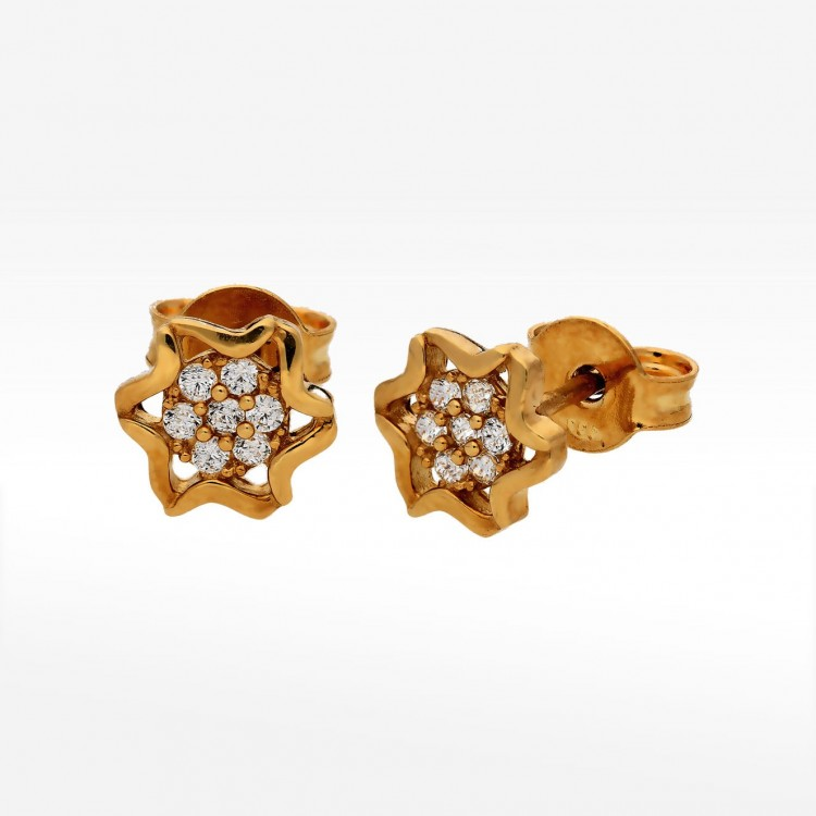 Kolczyki gwiazdki ze złota z cyrkoniami sztyfty