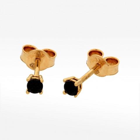 Złote kolczyki z czarną cyrkonią