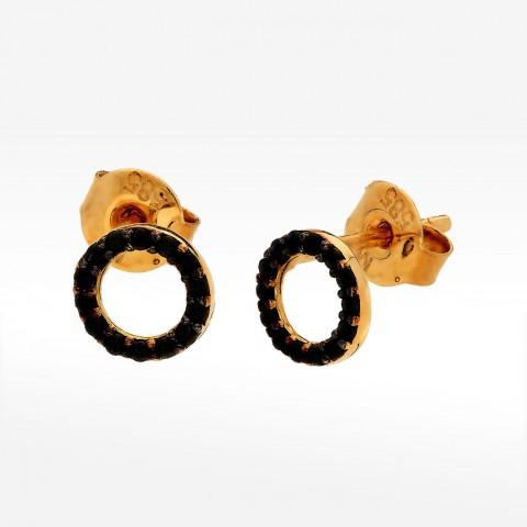 Kolczyki ze złota pierścienie z czarnymi cyrkoniami