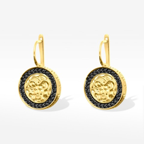 Kolczyki ze złota Medusa z czarnymi cyrkoniami