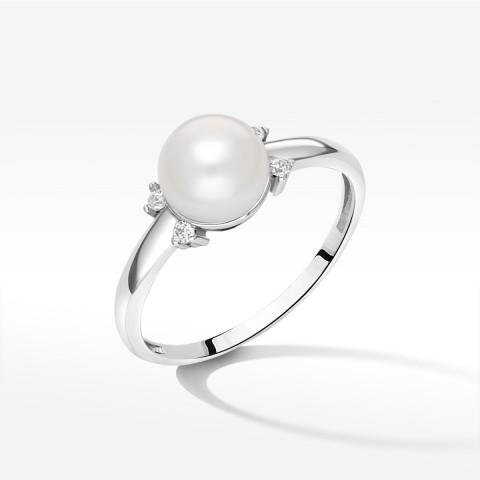 Pierścionek z białego złota z perłą