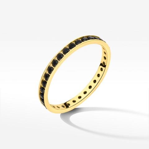 Pierścionek ze złota z czarnymi cyrkoniami