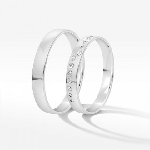 Obrączki ślubne z białego złota 3.5mm półokrągłe