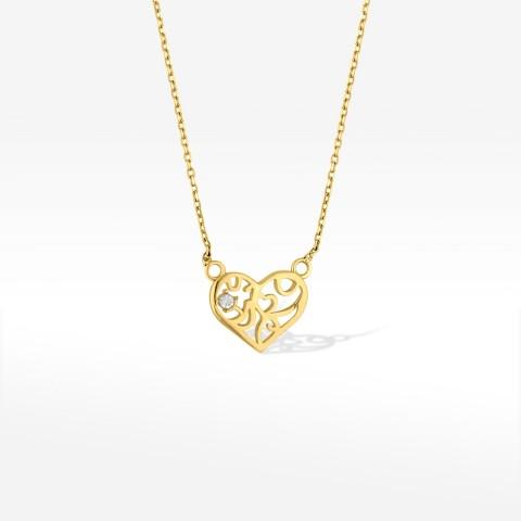 Naszyjnik ze złota ażurowe serduszko