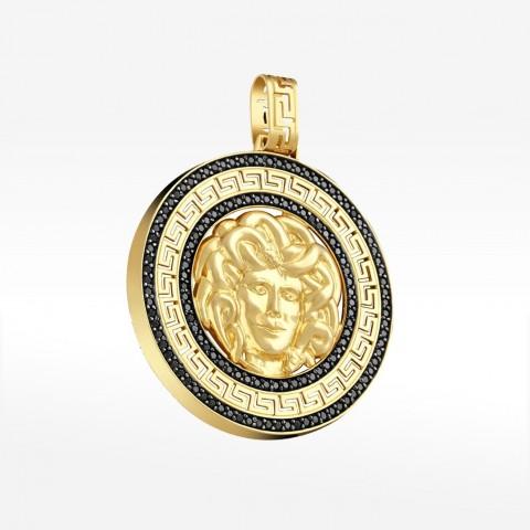 Zawieszka ze złota Medusa z greckim wzorem
