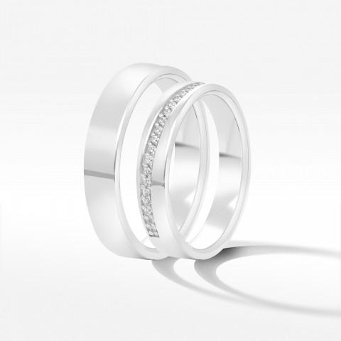 Obrączki ślubne z białego złota 4mm płaskie