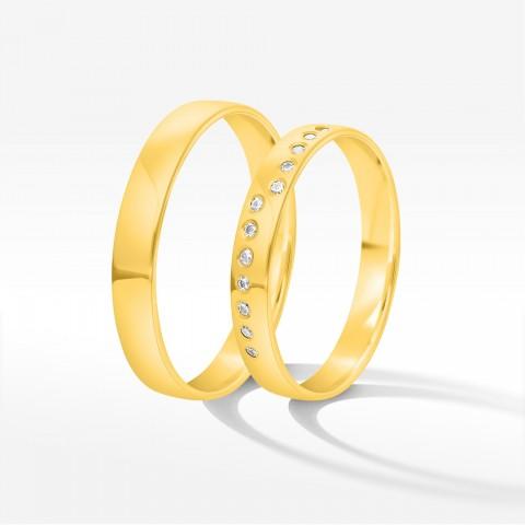 Obrączki ślubne z żółtego złota 3.5mm półokrągłe
