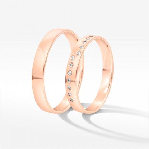 Obrączki ślubne z różowego złota 3.5mm półokrągłe