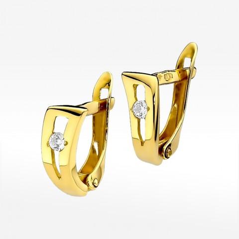 Kolczyki złote z brylantami na angielskie zapięcie