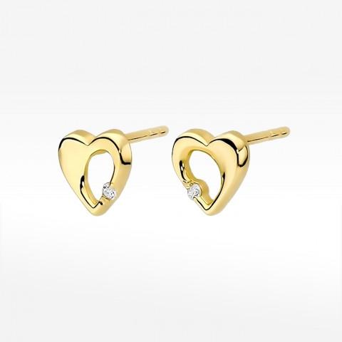 Kolczyki złote z brylantami na sztyft