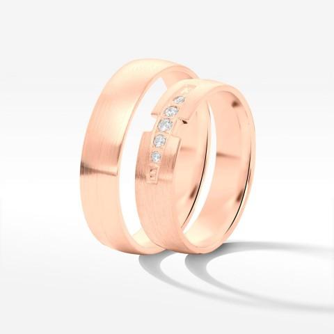 Obrączki ślubne z różowego złota 5mm półokrągłe