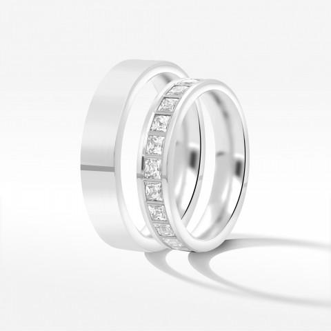Obrączki ślubne z białego złota 4.5mm płaskie