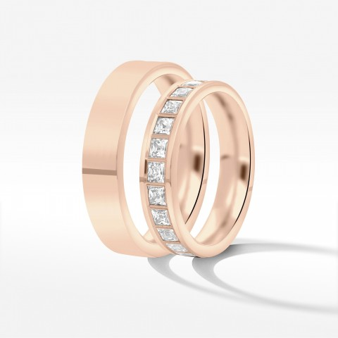 Obrączki ślubne z różowego złota 4.5mm płaskie