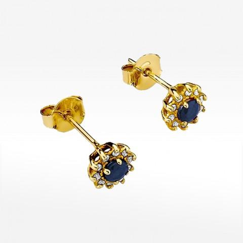 Złote kolczyki z szafirem