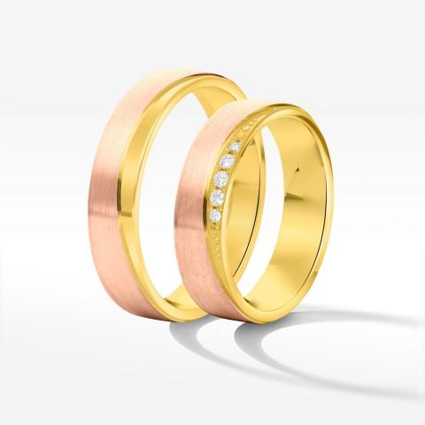 Obrączki ślubne z różowo-żółtego złota 5mm płaskie