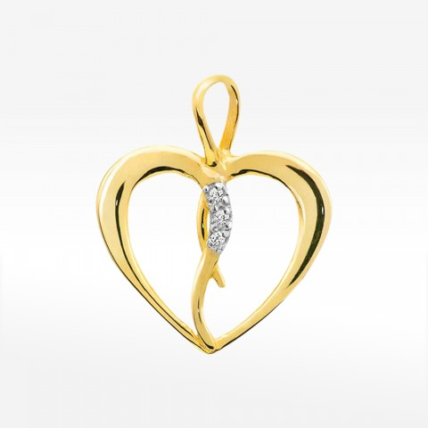 Złota zawieszka serce z brylantami