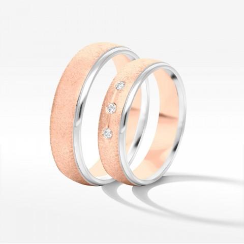 Obrączki ślubne z biało-różowego złota 5mm półokrągłe