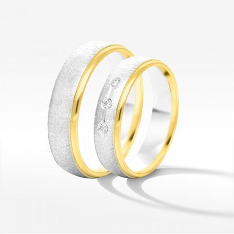 Obrączki ślubne z żółto-białego złota 5mm półokrągłe