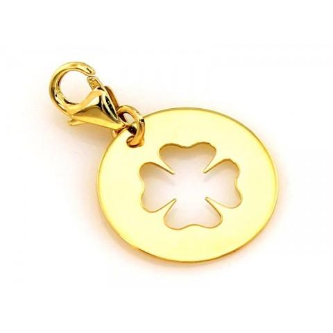 Złota zawieszka charms na bransoletkę koniczynka