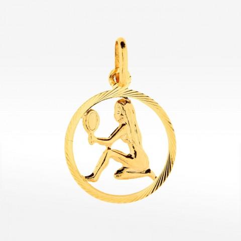 Złota okrągła zawieszka zodiak panna