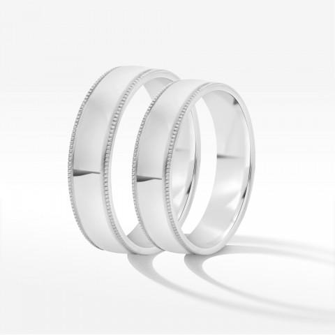 Obrączki ślubne z białego złota 4.5mm półokrągłe