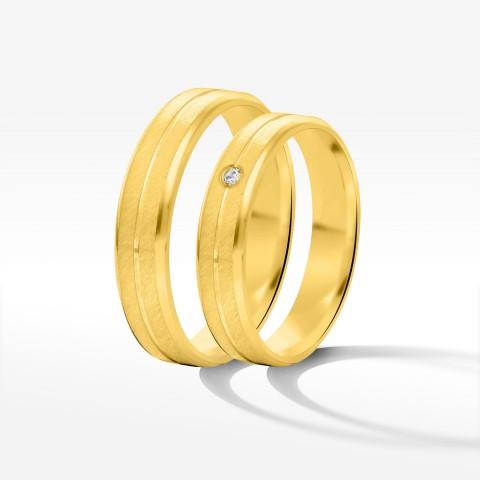Obrączki ślubne z żółtego złota 5mm fazowane