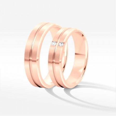 Obrączki ślubne z różowego złota 6mm fazowane