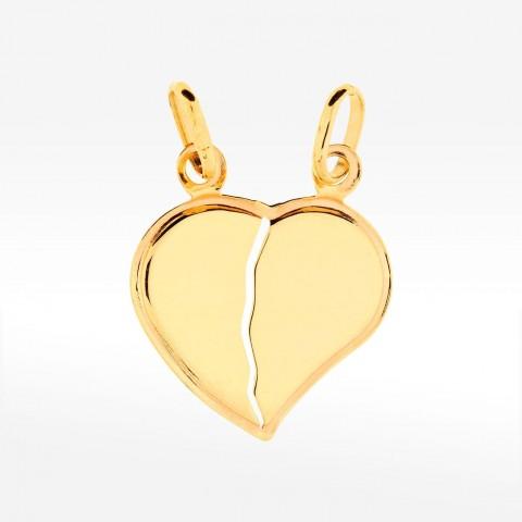 Złota zawieszka w kształcie dwóch połowek serc