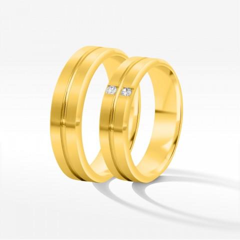 Obrączki ślubne z żółtego złota 6mm fazowane