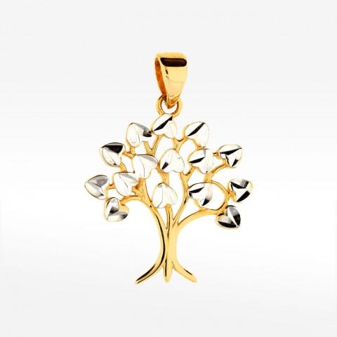 Dwukolorowa zawieszka ze złota drzewko