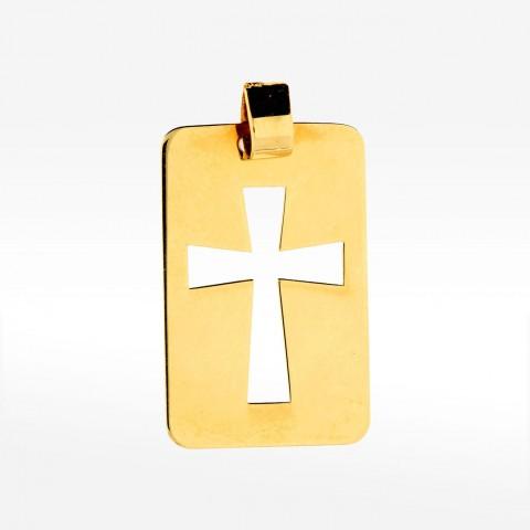 Zawieszka ze złota blaszka z krzyżykiem