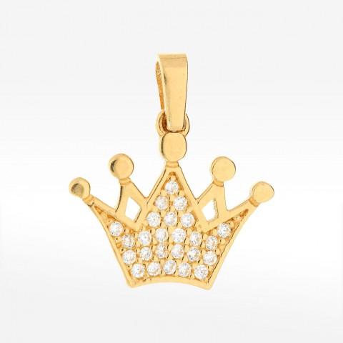 Zawieszka ze złota korona z cyrkoniami