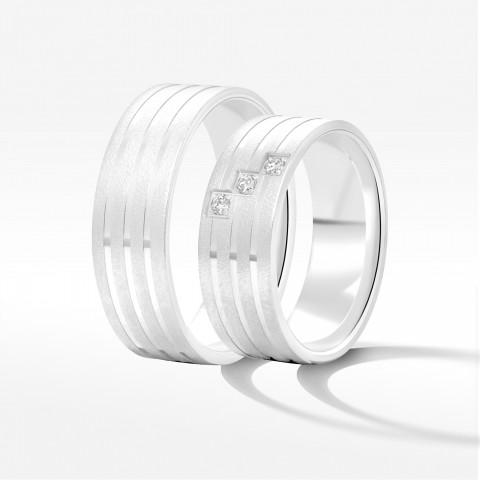 Obrączki ślubne z białego złota 7mm płaskie
