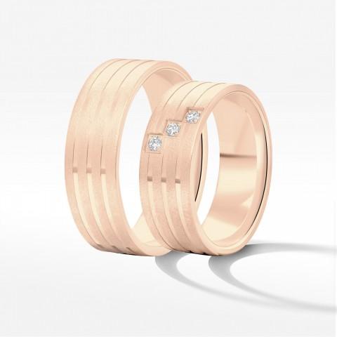 Obrączki ślubne z różowego złota 7mm płaskie