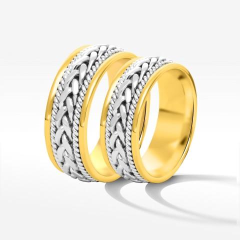 Obrączki ślubne z dwukolorowego złota 7mm płaskie