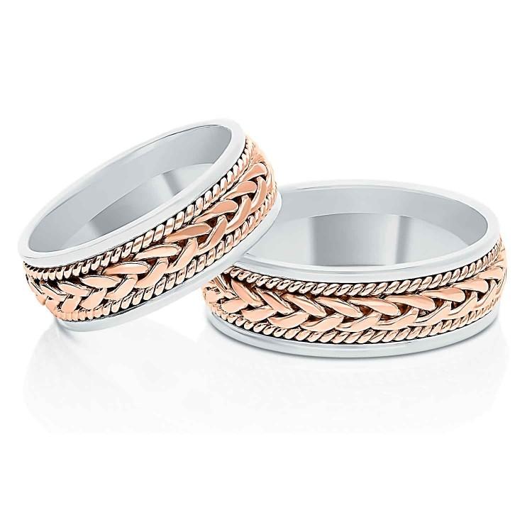 Obrączki ślubne z biało-różowego złota 7mm płaskie