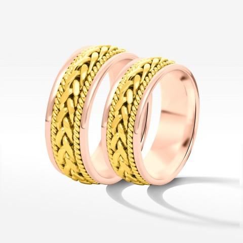 Obrączki ślubne z żółto-różowego złota 7mm płaskie