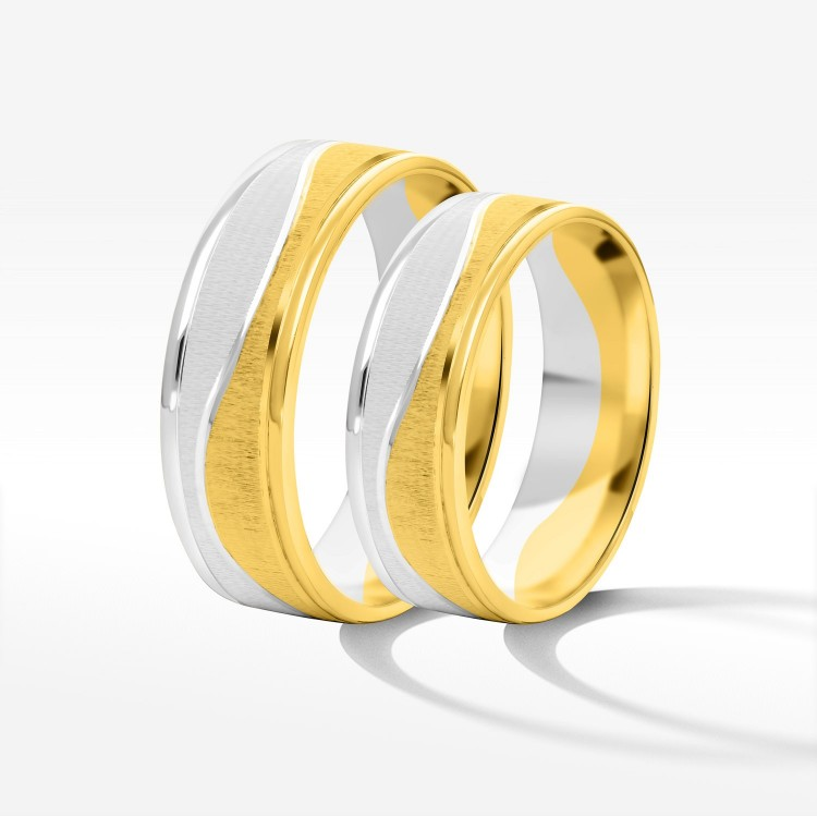 Obrączki ślubne z żółto-białego złota 6mm płaskie