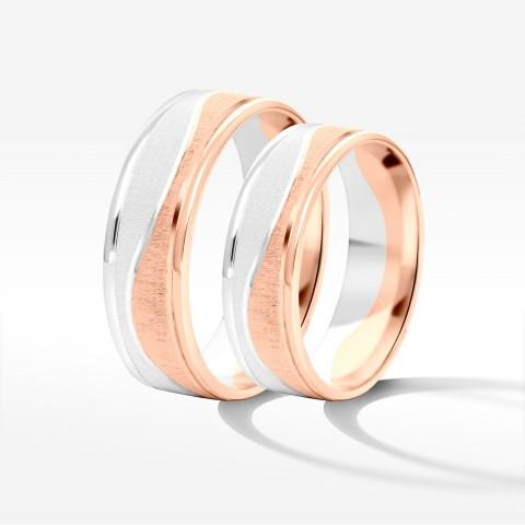 Obrączki ślubne z biał0-różówego złota 6mm płaskie